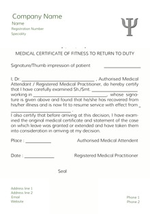 Custom Medical Certificates | Letter Templates | Print Medical Certificates  Format  Medical Certificate Format