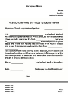 Design By Printvenue  Medical Certificate Format