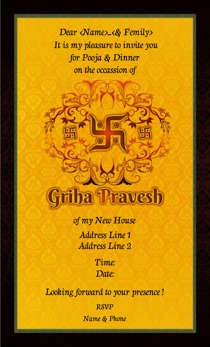 Griha pravesh invitations printvenue personalize invitations at design by printvenue stopboris Images