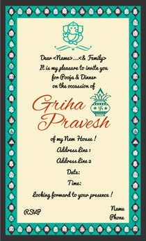 Invitation Card For Griha Pravesh In English Best Custom