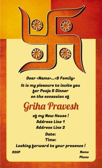 Griha pravesh invitations @Printvenue | Personalize invitations | Order in bulk