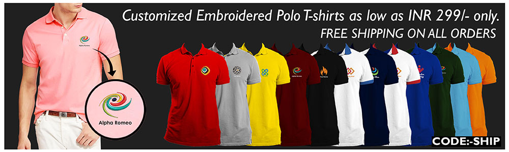 printvenue - Avail Flat 40% discount on Embroidered Polo Tshirts